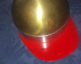 Antique brass felt lined music box if i were richman trinket treasure jewelry box shaped like jocky's hat