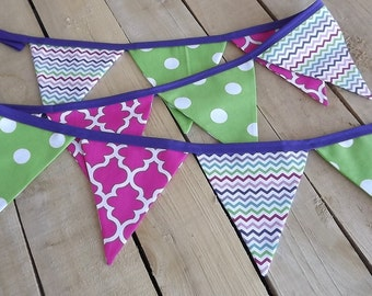 Pink, Purple, and Green Fabric Pennant Banner