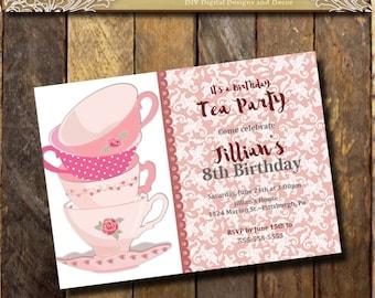 Tea Party Invitation,Teaparty Birthday Invitation Tea Party printable Tea cup invitation 1st 5th 8th  Girls Birthday invitation  Pink Damask