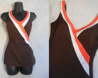 Vintage 1960s Swimsuit - 60s Brown Orange White One Piece Bathing Suit, 1960s Skirted Swimsuit