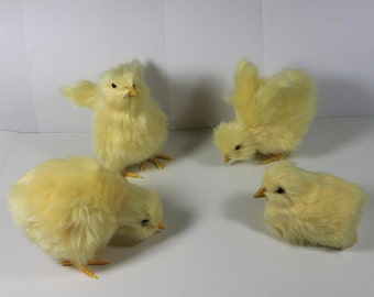 4pcs Easter Baby Yellow Chicks Furry Animal Plush Adorable Look Chicken