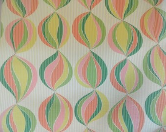 Modern vintage flocked wallpaper by the yard / yellow  green  orange / mod wallpaper