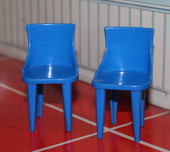 Plastic Dollhouse Furniture Plasco Chairs Set Of 2 Tin Litho