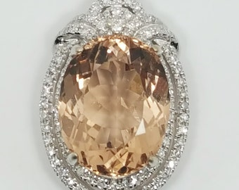 7.77ctw Oval Morganite & Double Diamond Halo 14kt White Gold Pendant