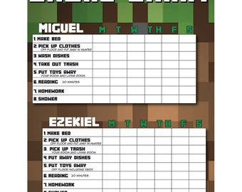 Customizable Minecraft Chore Chart