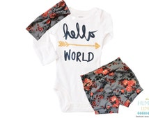 Baby Girl Coming Home Outfit: Hello, World Arrow Bodysuit, Floral Print Shorties Shorts and Turban Style Headband