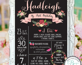 My First Birthday Chalkboard Sign with Florals • DIGITAL PRINT • First Birthday Sign • One Year Birthday • My Favorites