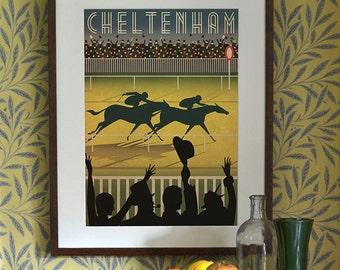 Original Design Cheltenham Races Racecourse A3 A2 A1 Poster Horse Art Deco Bauhaus Print Vintage Vogue Horses Animals Royal Ascot