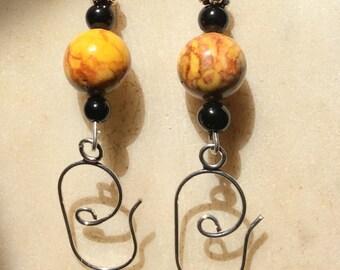 Curved Sterling Silver Vintage Bead Drop Earrings