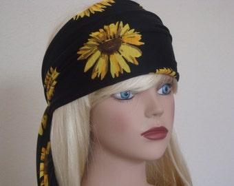 Sunflower Head Scarf - Hair Wrap - Extra Long Head Wrap