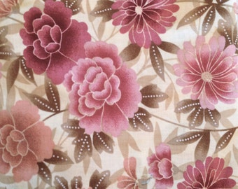 CLEARANCE Pink Mauve Peach Fabric 1/2 Yard Quilters Cotton Tan Honey Floral