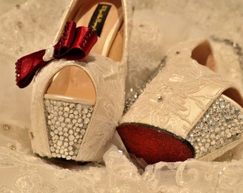 Swarovski crystal White silver French Lace Peeptoe platform heel with berry red glitter sole and crystal bow