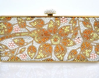 Swarovski ELEMENTS Patterned Minaudiere Floral Golden Sun Pink yellow Orange Crystal Metal rectangle clutch bag