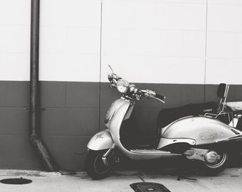 Vespa photography, New Orleans photography, french quarter photo,  black and white photography, vespa photo, retro style, wanderlust decor
