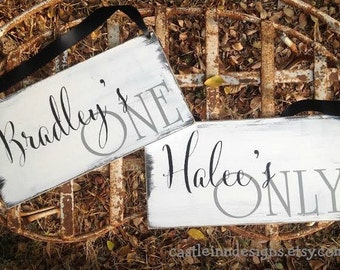 Wedding Chair Signs | Engagement Photo Signs | One and Only | Wedding Decor | Bride Groom signs | Mr & Mrs | Wedding Reception Decor |Unique
