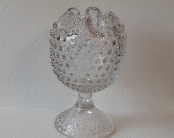 Vintage Glass Hobnail Pattern Duncan Miller Violet Crimped Vase