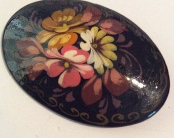 German hand painted brooch 2-1/4 in