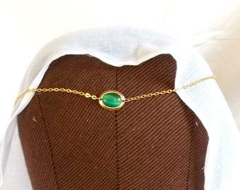 Medieval GoldTone Green Cat's Eye CIRCLET SCA Re-enactment LARP Costume Necklace Weddings