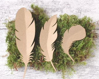 Brown Kraft Card Feathers x 9