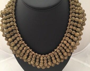 MIRIAM HASKELL BIB Necklace - Signed - Goldtone Filigree