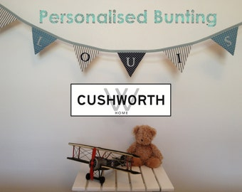 Personalised Bunting in Spots and Stripes