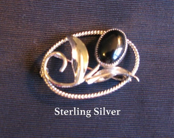 Clearance SALE Onyx Jewelry - Brooch Sterling Silver Pin Vintage