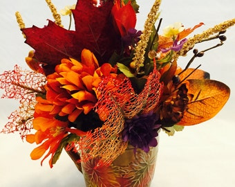 Fall Floral Decor, Autumn Floral Decor, Fall Color Decor,Thanksgiving Decor,Fall Arrangement, Autumn Arrangement, Leaf Floral Arrangement