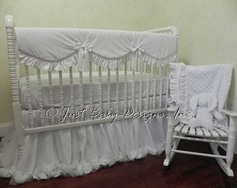 Baby Girl Crib Bedding Set Giselle White - White Baby Bedding, Bumperless Crib Bedding, Crib Rail Cover