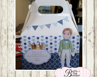 Prince James party favor box, Sofia the first gable box, 10 Princess party favor gable box, Sofia favor box