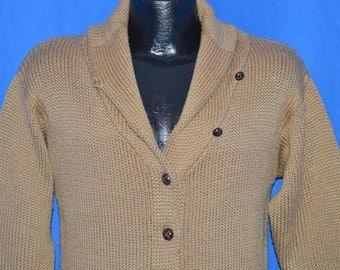 70s Shawl Collar Acrylic Cardigan Brown Sweater Small