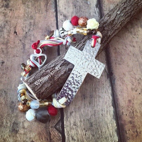 Cross Bracelet  - great for layering/stacking or alone. Personalized, Hand-Stamped Jewelry