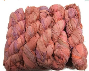 SALE 50g  Sari Silk Ribbon, Sonoran Sunset