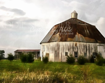 Round Barn / Rural Country Pasture Ohio Farm Wall Art Digital Paint Print