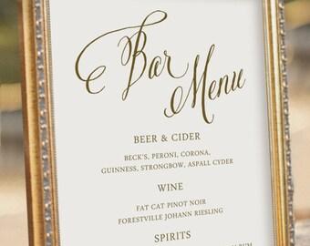 Wedding Bar Menu - Wedding Reception Sign - digital PDF file