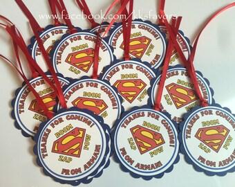 Superman Favor Tags / Captain America Favor Tags / Superhero Favor Tags / Batman Favor Tags / Spiderman Favor Tags - Set of 12