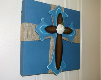 Wooden/Metal/Burlap Cross Wall Art/Decor