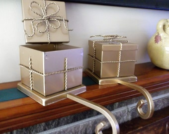 """Vintage Christmas Stocking Holder/Hanger Vintage """"Package"""" Stocking Hanger"""