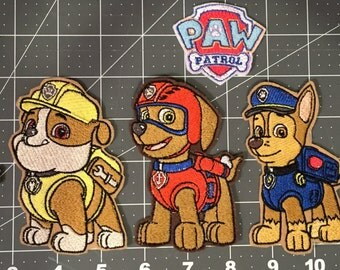 Fire pup, Police Pup, Flying pup, Builder Pup, Diver Pup, Recycler Pup and Snow Pup iron or sew on patches. Made to order machine embroidery