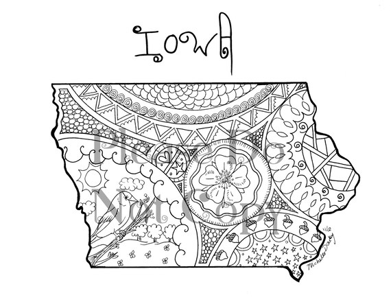 Iowa map colouring page for Iowa coloring pages