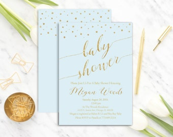 Gold and Blue Baby Shower Invitation Printable, Boy Baby Shower Invitation, Light Blue Baby Shower Invitation, Modern, Digital or Paper