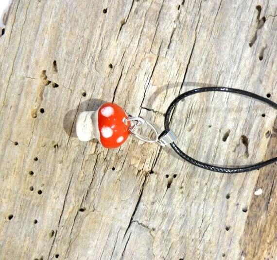 Mini Ceramic mushroom Necklace, Unique,  handmade ceramic, OOAK, Adorable Gift, handmade