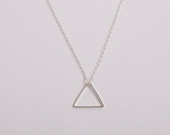 Silver Plated Necklace Triangle Silver Necklace Minimal Jewelry Necklace  Triangle