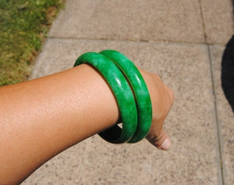 Vintage Real Jade Bangle Bracelets Set of 2