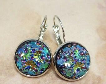 Tapestry Earrings Rare Vintage Carnival Glass Flower Ear Dangles