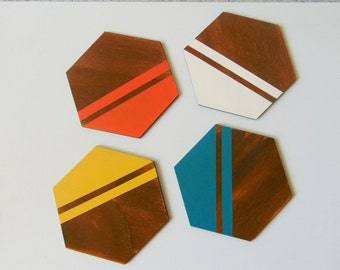 Hexagon wood Coasters, Drink Coasters, Neon Geometric Coasters, Handpainted Wooden Coasters
