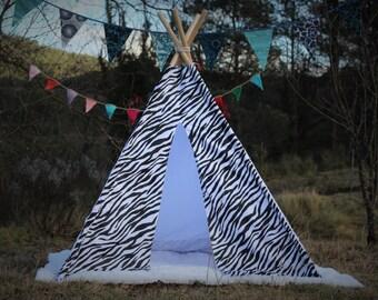tipi / tepee / tipi / teepee Tent Zebra. Teepee Tent. 4 POLES INCLUDED