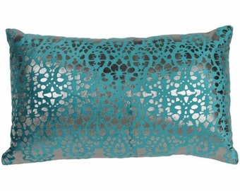 Blazing Needles 20-inch by 12-inch Rorschach Scaled Velvet Throw Pillow Teal