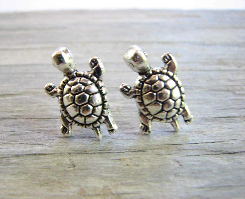 Silver Turtle Stud Earrings Small Turtle Jewelry Cute