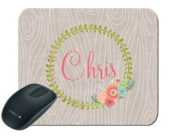 Personalized Mouse Pad, Wood Mouse Pad, Wreath Mouse Pad, Birthday Present, Mothers Day, Wedding gift, Mouse Pad, Personalized