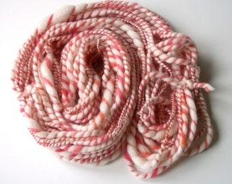Handspun wool yarn,  pink handspun art yarn,  hand spun worsted to bulky weight yarn, handspun wool yarn, 30 yds. 2.5 oz. 71 g.